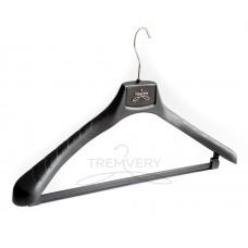 Вешалка плечики широкоплечая  ВОП 45/5,5 КП (Премиум) S3black (черный) с креплениями для перекладины