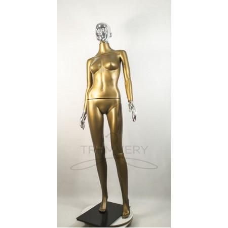 """Манекен пластиковый  женский бронзовый с металлизированными кистями рук и головой   модель Сиваян ВГ""""  (платина)"""