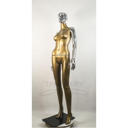 """Манекен пластиковый  женский черный с металлизированными руками и головой   модель Сиваян ВГ""""  (платина)"""