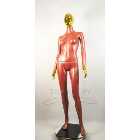 """Манекен пластиковый  женский теракотовый с металлизированными кистями рук и головой   модель Сиваян Аватар-2""""  (золото)"""