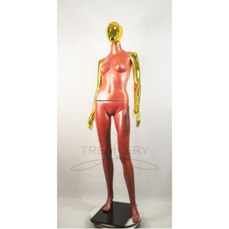 """Манекен пластиковый  женский терракотовый с металлизированными руками и головой   модель Сиваян Аватар-2""""  (золото)"""