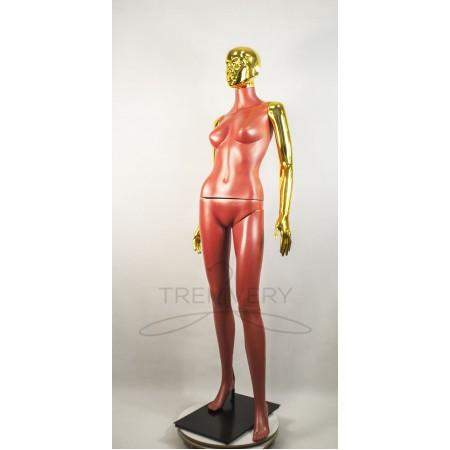 """Манекен пластиковый  женский терракотовый с металлизированными руками и головой   модель Сиваян ВГ""""  (золото)"""