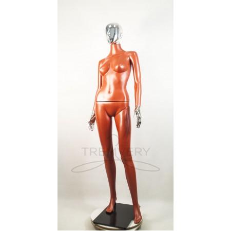 """Манекен пластиковый  женский терракотовый с металлизированными кистями рук и головой   модель Сиваян ВГ""""  (платина)"""