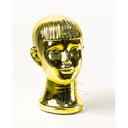 Манекен  головы  детской  с лицом металлизированный (золото)