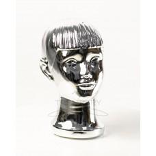 Манекен  головы  детской  с лицом металлизированный (платина)