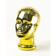 Манекен  головы  женской  с лицом металлизированный (золото)