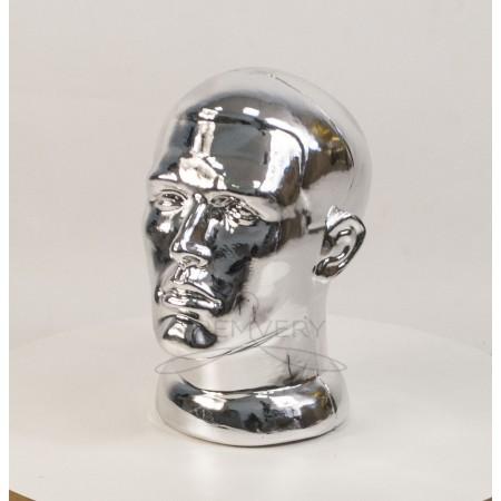 Манекен  головы  мужской  с лицом металлизированный (платина)