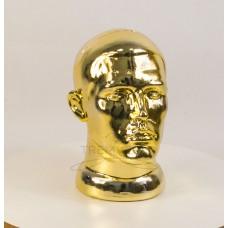 Манекен  головы  мужской  с лицом металлизированный (золото)