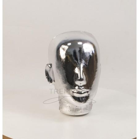 Манекен  головы  женской  Аватар безликий металлизированный (платина)