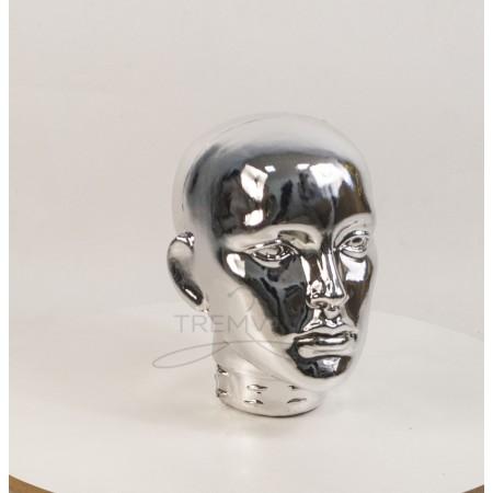 Манекен  головы  женской  с лицом металлизированный (платина)