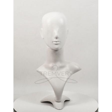 Манекен бюста и головы женской белый Аватар