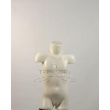 Манекен пластиковый торс детский к треноге белый матовый