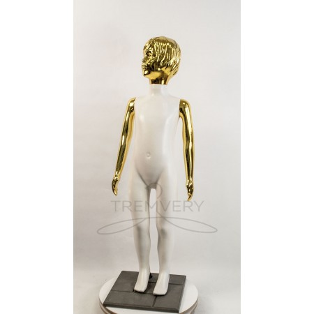 ! Манекен детский 120 см с металлизированными руками и головой  (золото) ( девочка )  в полный рост на подстаке