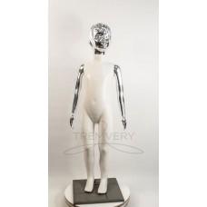! Манекен детский 120 см с металлизированными руками и головой  (платина) ( девочка )  в полный рост на подстаке