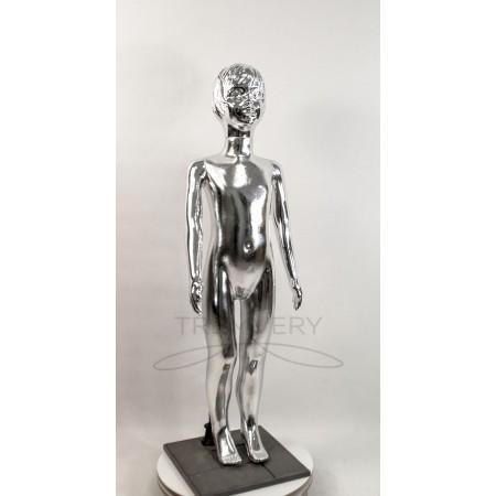 ! Манекен детский 120 см металлизированній (платина) ( девочка )  в полный рост на подстаке