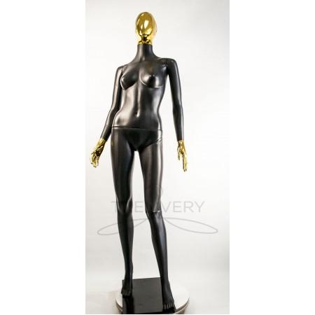 """Манекен пластиковый  женский  абстрактный  черный с металлизированными руками   модель  """"Сиваян Аватар 2 """"  (золото)"""