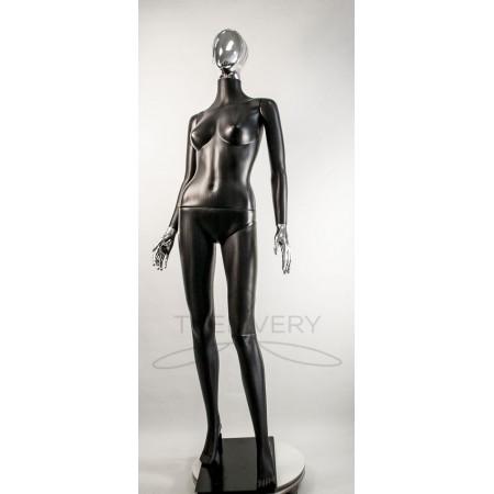 """Манекен пластиковый  женский  абстрактный  черный с металлизированными кистями рук и головой   модель  """"Сиваян Аватар 2 """"  (платина)"""
