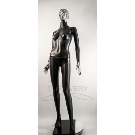 """Манекен пластиковый  женский черный с металлизированными кистями рук и головой   модель Сиваян ВГ""""  (платина)"""