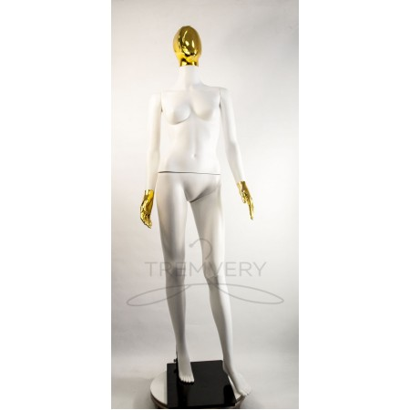 """Манекен пластиковый  женский  абстрактный  белый с металлизированными кистями рук и головой   модель  """"Сиваян Аватар 2 """"  (золото)"""
