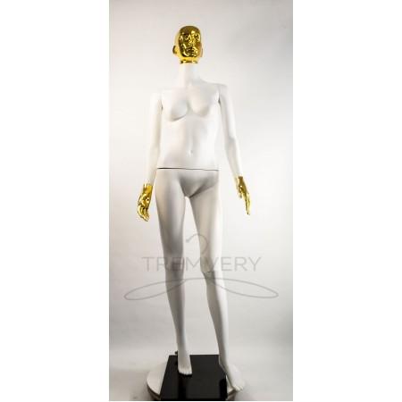 """Манекен пластиковый  женский белый с металлизированными кистями рук и головой   модель Сиваян ВГ""""  (золото)"""