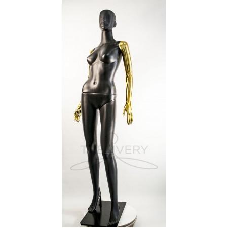 """Манекен пластиковый  женский  абстрактный  черный с металлизированными руками   модель  """"Сиваян Аватар """"  (золото)"""