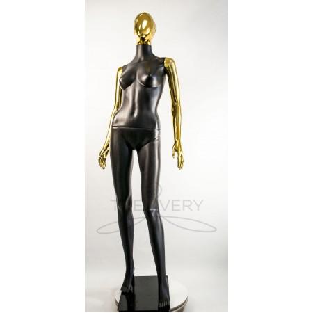 """Манекен пластиковый  женский  абстрактный  черный с металлизированными руками и головой   модель  """"Сиваян Аватар 2 """"  (золото)"""