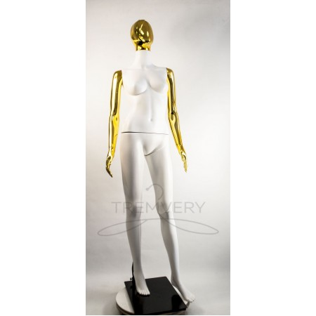 """Манекен пластиковый  женский  абстрактный  белый с металлизированными руками и головой   модель  """"Сиваян Аватар 2 """"  (золото)"""