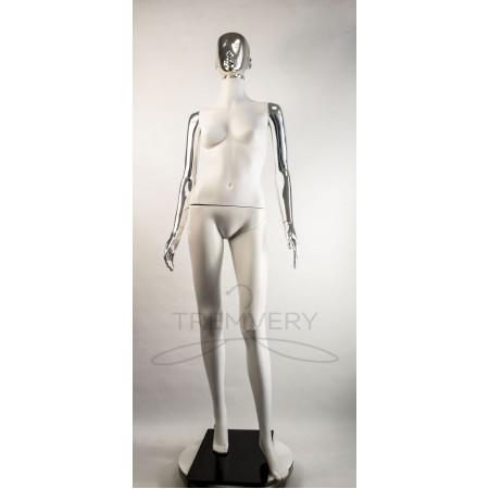 """Манекен пластиковый  женский  абстрактный  белый с металлизированными руками и головой   модель  """"Сиваян Аватар 2 """"  (платина)"""