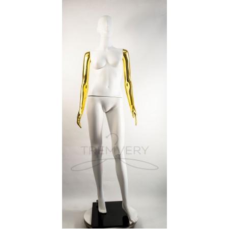 """Манекен пластиковый  женский  абстрактный  белый с металлизированными руками  модель  """"Сиваян Аватар """"  (золото)"""