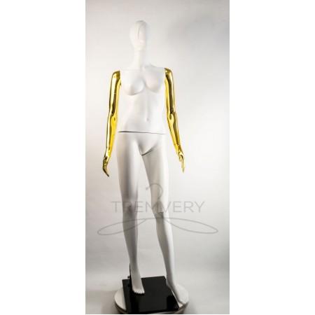 """Манекен пластиковый  женский  абстрактный  белый с металлизированными руками  модель  """"Сиваян Аватар 2 """"  (золото)"""