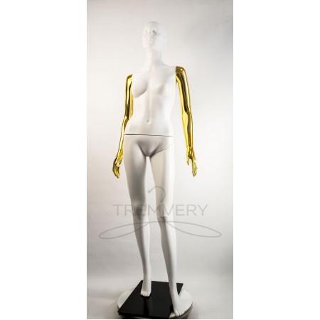 """Манекен пластиковый  женский белый с металлизированными руками   модель Сиваян ВГ""""  (золото)"""