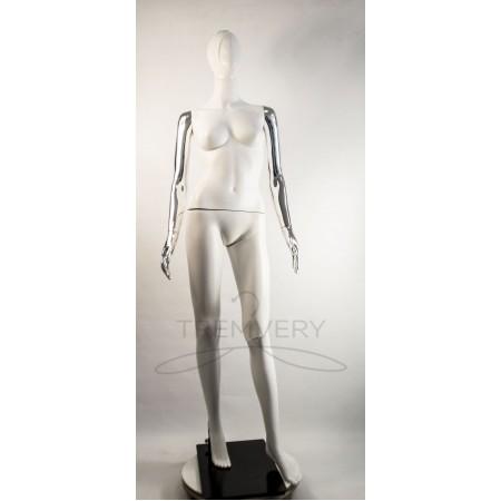 """Манекен пластиковый  женский  абстрактный  белый с металлизированными руками модель  """"Сиваян Аватар 2 """"  (платина)"""