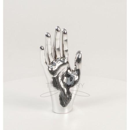 Манекен объемный кисть руки женская правая металлизированная (платина)