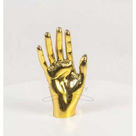 Манекен объемный кисть руки женская правая металлизированная (золото)
