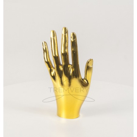 Манекен объемный кисть руки женская левая металлизированная (золото)
